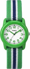 Kids Timex Time Teacher Green Elastic Nylon Fabric Band Watch TW7C06000