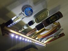 "LIGHTED LED 10 BEER TAP HANDLE DISPLAY OAK 34"" wall mounted includes brackets"