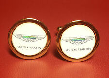 ASTON MARTIN HIGH QUALITY GOLD PLATED CUFFLINKS IN HARRODS  DISPLAY CASE