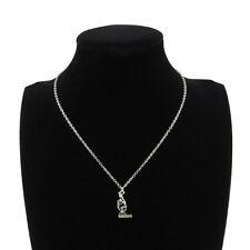 """Silver Alloy Science Microscope Pendant Short Chain Collar Necklace 18"""" Retro"""