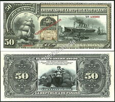 "NEW PANAMA LARGE SIZE ""SERIES OF 1918A"" 50 BALBOAS FANTASY ART NOTE BY REED BNC!"