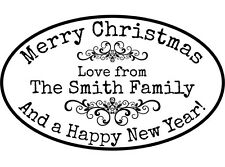 Personalised Christmas Rubber Stamp *NEW* + FREE INK PAD
