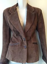 WALLIS real suede ladies brown fitted blazer style jacket size 12