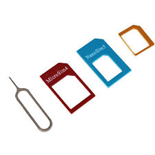 4in1 Nano SIM Card to Micro Standard Card Adapter Converter Pin for iPhone6 5 4