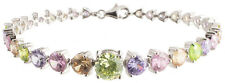 Sterling Silver 925 Womens Synthetic Multi Color Stones Bracelet 8-3mm Wide