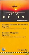 Airline Timetable - Condor - Winter 2001 02 - Spain Edition