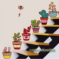 6 Colourful Flower Pots Garden Plant Wall Stickers Window Tile Study Home Decals