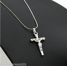 Beautiful Jesus Silver Cross Pendant Necklace Snake Chain Amulet UniSex Fashion