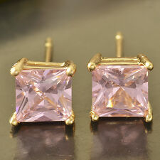Yellow Gold Plated Baby Kids Childrens Pink Cubic zircon Square Stud Earrings