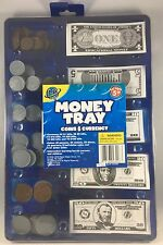Kids Children Fake Play Money Tray Cash Coins Store Cashier Pretend Play Learn