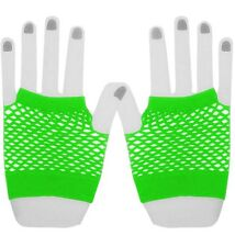 Neon Green Ladies 80's Fishnet Short Fingerless Women's Girls Dress Gloves