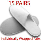 15 x pairs Closed Toe WHITE TOWELLING HOTEL SLIPPERS TERRY Spa Disposable Joblot