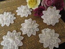 6 pz di 3 sfondo pizzo guipure da sposa applicazione, con perle, bianco spento