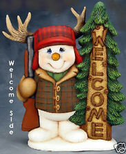 Ceramic Bisque Ready to Paint Welcome/Goodbye Hunter Snowman