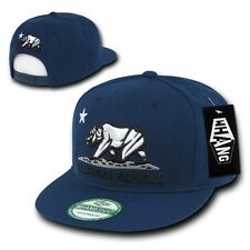 Navy Blue California Republic Cali Bear Flat Bill Snapback Snap Back Hat Cap