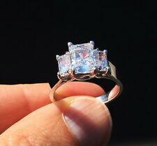 Triple Radiant Cut Ring 2.5 ct tw.Top Russian Quality CZ Imitation Moissanite 8