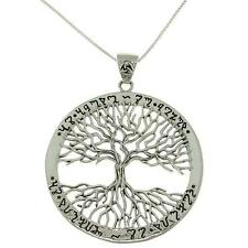 925 Sterling Silver Ornate Ancient Script Engraving Tree of Life Charm Pendant
