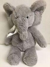 "PBK Pottery Barn Kids Elephant Grey White Bow Plush Stuffed Animal 17"" beanbag"