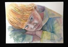 Watercolor Sleepy Boy Red Hair Freckles 10x14 Painting Original Penny StewArt