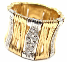 Authentic! Roberto Coin 18k Yellow Gold Elephant Skin Diamond Band Ring