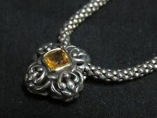 Vintage 925 Sterling Braided Rope Chain Necklace w/Stone Centered Floral Pendant