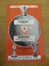 10/09/1974 Liverpool v Brentford [Football League Cup] . Unless previously liste