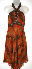 STAR BY JULIEN McDONALD UK10 EU38 ORANGE/BROWN SILK CHIFFON HALTERNECK DRESS NEW
