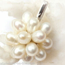 Genuine Natural White Cultured Freshwater Rice Pearl Pendant 20mm