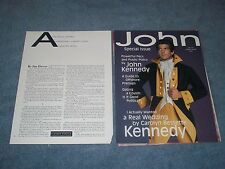 "1997 John Kennedy Jr. Vintage Profile Info Article ""Camelot's Prince Tackles..."""