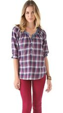 MAISON SCOTCH TARTAN CHECK PURPLE SMOCK SHIRT BLOUSE TOP 1 XS 8 4 36!