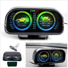 12V Car Off-Road Two-barreled Green LED Backlight Inclinometer Tilt Slope Meter