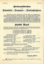 Preisausschreiben für Entwürfe v. Sommer- Ferienhäusern Architekt Muthesius 1906