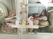 Pretty EASTER BUNNY rabbit family pastel hanging DECORATION sign