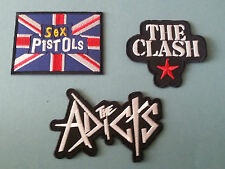 SET OF THREE MUSIC SEW/IRON ON PATCHES:-  SEX PISTOLS THE CLASH AD THE CTS