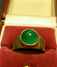Vintage Art-Deco 9CT Yellow Gold 1.5ct Emerald Cabochon Solitaire Ring Size H1/2