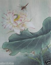 "Original Gongbi Style Chinese Painting on Paper: Lotus Flower 13.78""x17.72"""