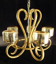 Vintage Bentwood Chandelier Thonet Style 5 Arm Mid Century Ceiling Amber Light