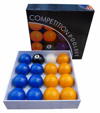 "BLUE & YLW COMPETITION SET OF POOL BALLS ENGLISH TABLE 2"" match quality pub club"