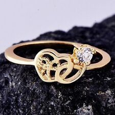 Fashion Chic Yellow Gold Filled Womens Heart Ring Cubic Zirconia Size 6