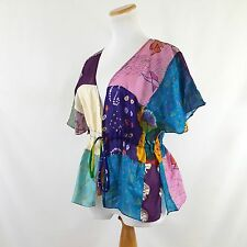 Sterling Styles Colorful Silk Patchwork Art to Wear Drawstring Kimono Topper OS