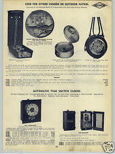 1938 PAPER AD Waltham 15 Jewel 8 Day Movement Night Watchmen's Clock Reliance