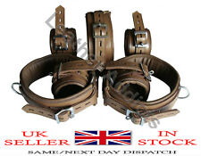 Real Top Grain Brown Leather Heavy Duty Bondage Gay set of 7 Restraints