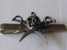 Pirate skull code dr80 Fine English Modern Pewter on a Tie Clip (slide)