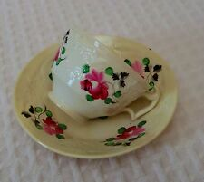 Queen's King's Rose Soft Paste Cream Ware Hand-painted Cup Saucer Staffordshire