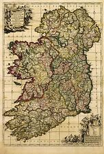 MAP ANTIQUE DE WIT 18TH CENTURY IRELAND OLD LARGE REPLICA POSTER PRINT PAM0884