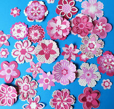 Pink flowers to make. Cardmaking embellishments kit, some Stampin Up Large pack