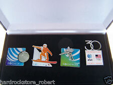 2014 at&t USA SOCHI OLYMPICS SPONSOR (4) PIN SET/SKATERS/SNOWBOARD/SPINNER/ANNY