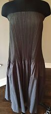 ISSEY MIYAKE FETE Grey Strapless Pleated Dress Size L (Japanese Size 3)- Classic