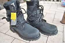 Cat Caterpillar Cuero Negro Tachonado Rock Biker Boots New 5 38 BNWOB