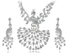 Elegant Faux Pearl Crystal Element Peacock Bird Earring Necklace Set